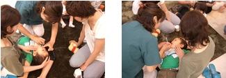子ども用フロスやフッ素の使用方法の勉強の様子